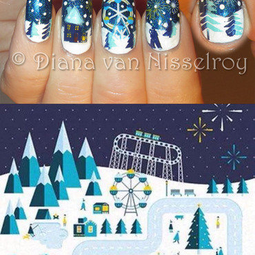 Winter scene nail art by Diana van Nisselroy
