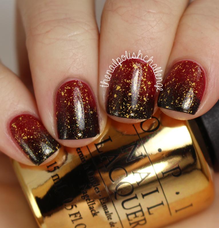 Classy Gradient Gold Flake nail art by Kelli Dobrin