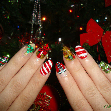Merry Christmas nail art by Christina