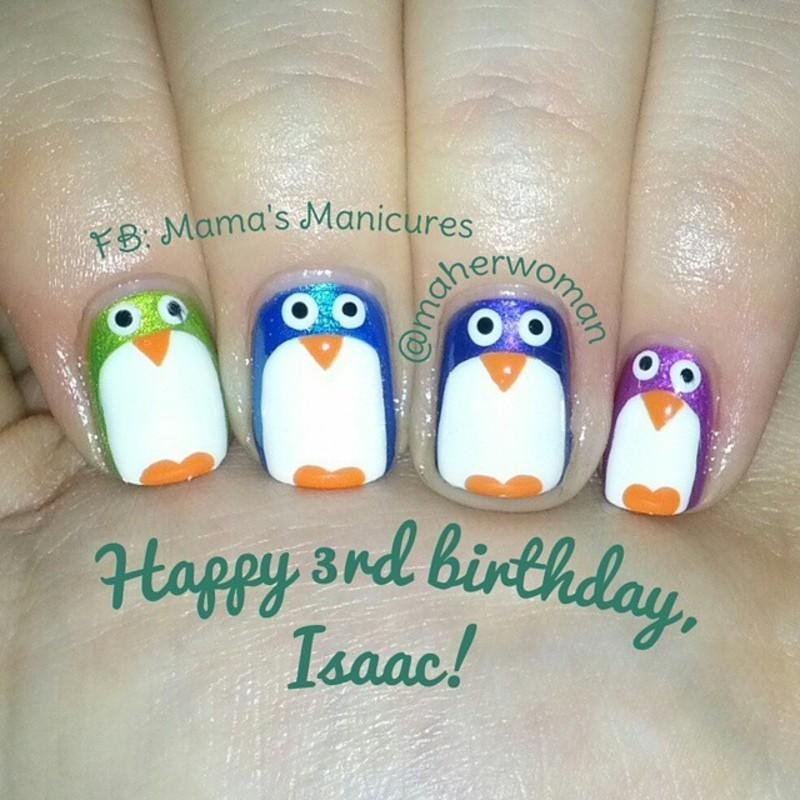 Penguin Nails nail art by Mama's Manicures (maherwoman)