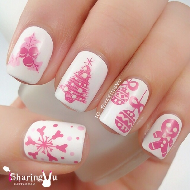 💞 Pinkish Christmas 💞 nail art by SharingVu