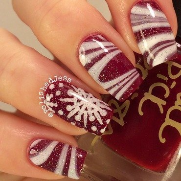 Candy Cane Marble nail art by PolishedJess