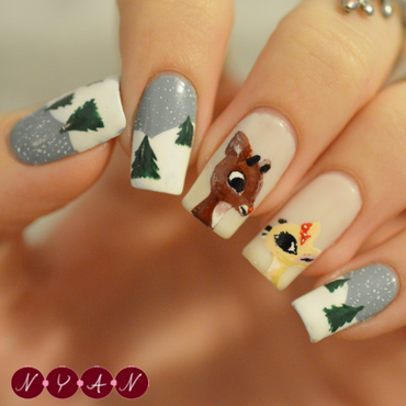 Rudolph nail art by Becca (nyanails)