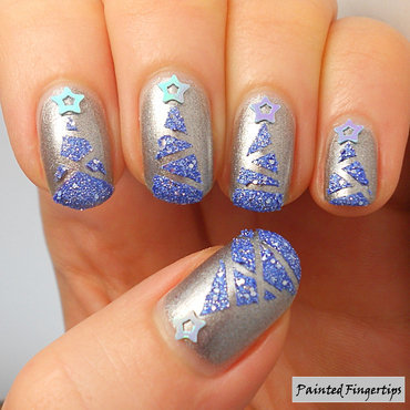 Textures Christmas trees nail art by Kerry_Fingertips