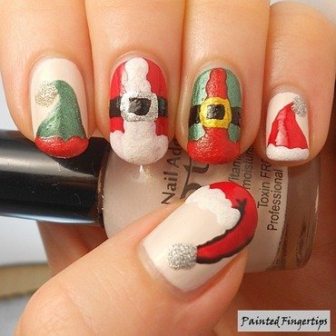 Santa and the elves nail art by Kerry_Fingertips
