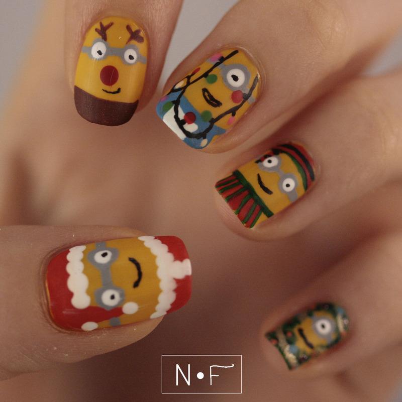 Minion Christmas nail art by NerdyFleurty