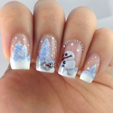 Olaf Christmas mani!!! nail art by Eterna Santos