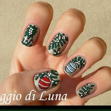 Mistletoe and Christmas ornaments nail art by Tanja