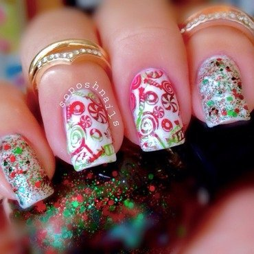 Christmas Candies and Glitter nail art by Debbie