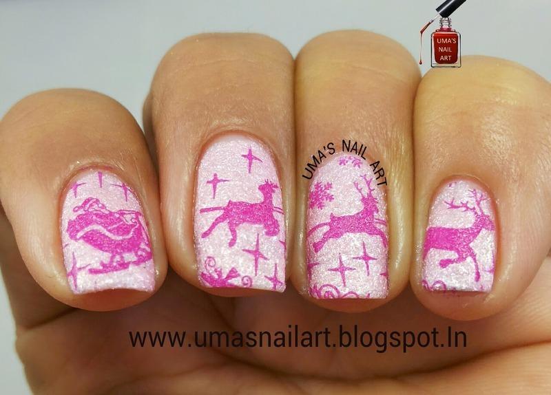 Pink Christmas Nail Art nail art by Uma mathur