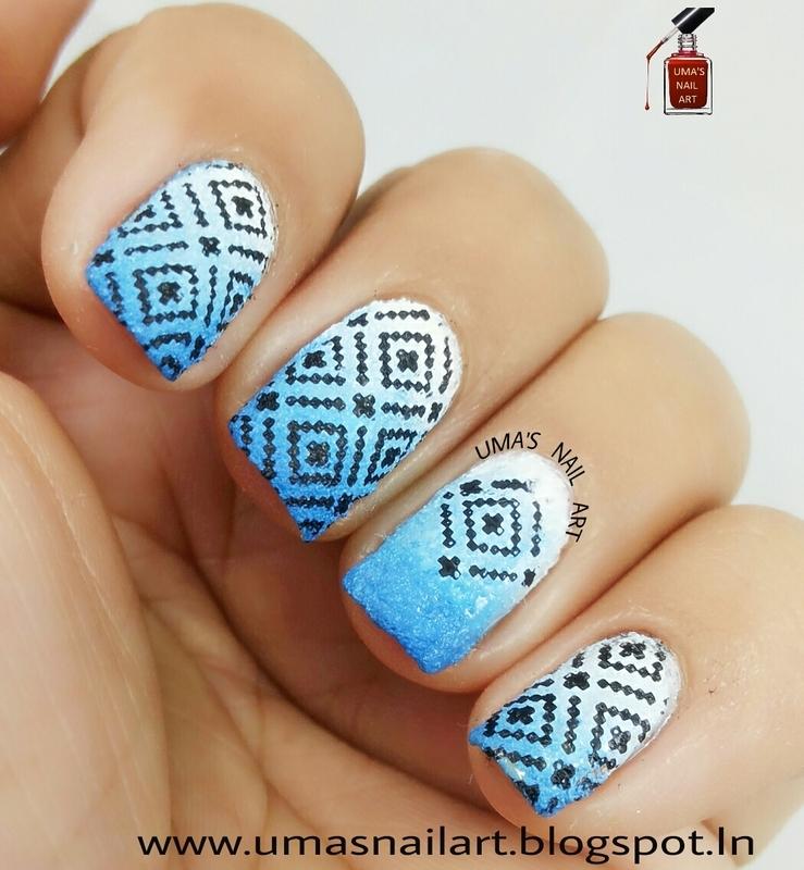 Gradient Sweater Nail Art nail art by Uma mathur