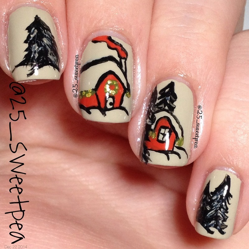 Winter houses nail art by 25_sweetpea
