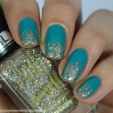 Teal and Gold Glitter Tips nail art by Vicky Standage