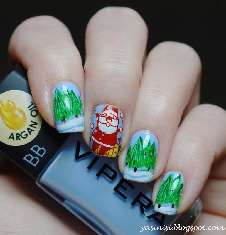 christmas manicure nail art by Yasinisi