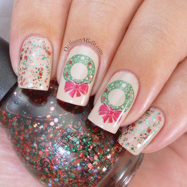 Christmas wreaths nail art by Michelle