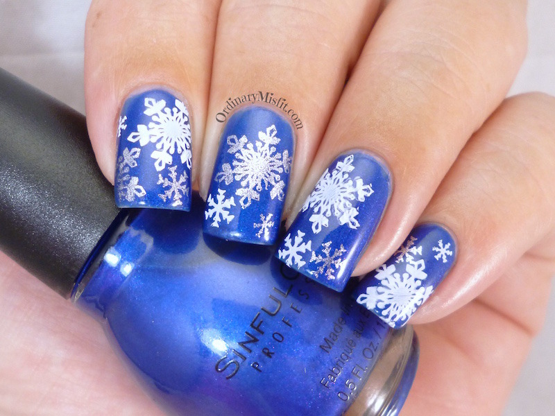 Wintery Snowflakes nail art by Michelle