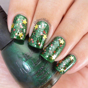 Christmas Tree nail art by Michelle