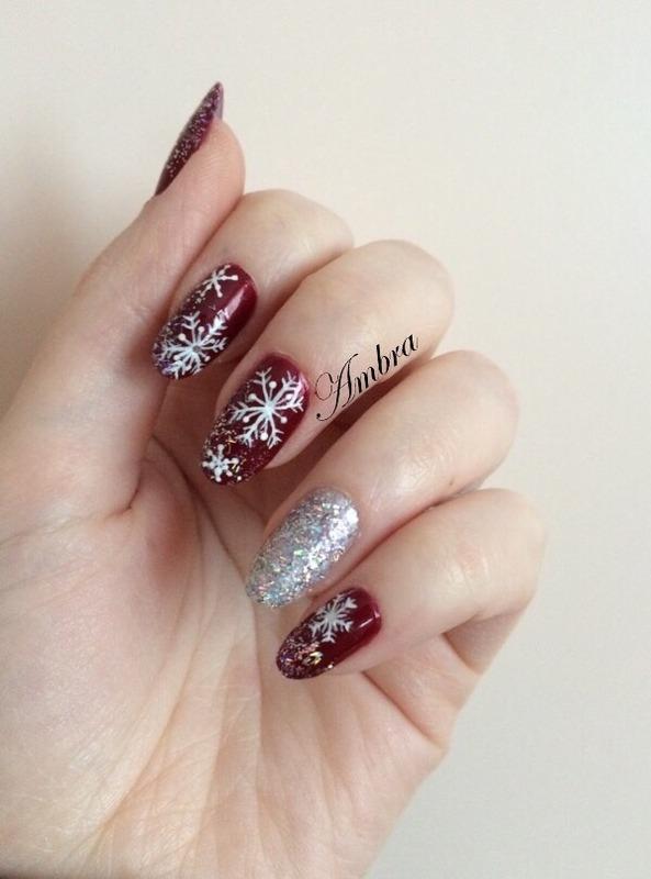 Snowflake nail art nail art by AmberNails