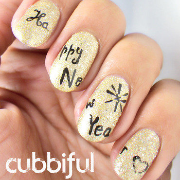 Happy New Year Nails nail art by Cubbiful