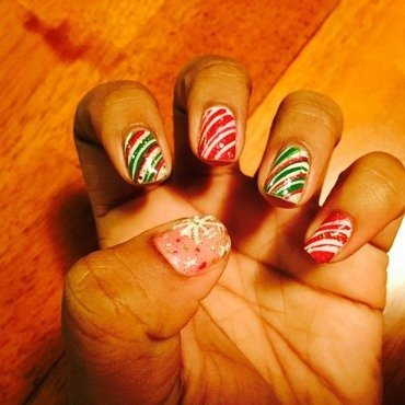 Peppermint Christmas nail art by Toni Nailed It
