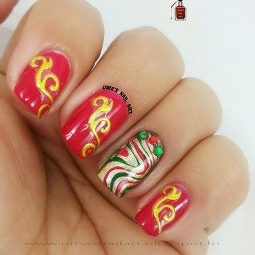 Festive Nails.... nail art by Uma mathur