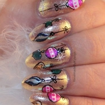 Baubles nail art by  Kyleigh  'Handmade By Kyleigh'