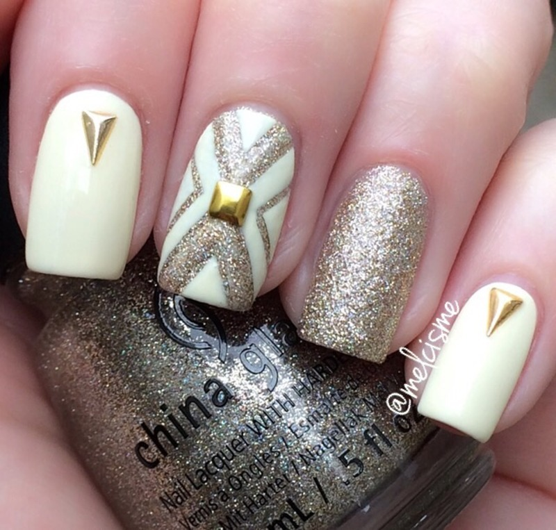 Cream & gold  nail art by Melissa