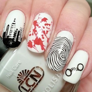 CSI Crime Scene Nails nail art by iriefly