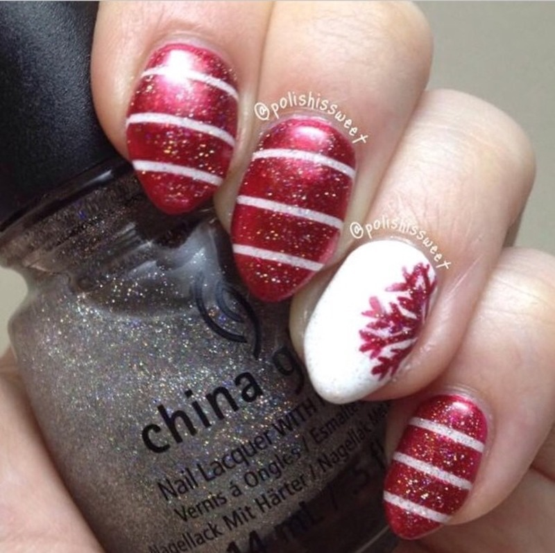 Snowflake & Stripes! nail art by PolishIsSweet