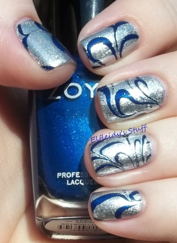 Blue and silver water marble nail art by Jenette Maitland-Tomblin