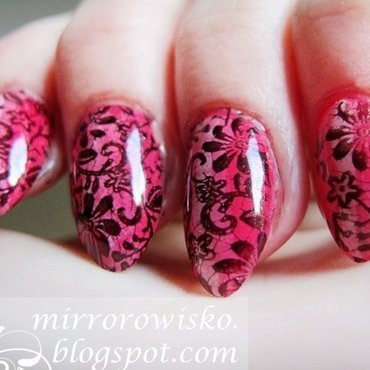 Pink lace nail art by Panna Dominika