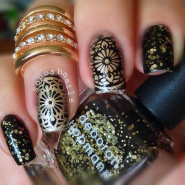Black and Gold Floral Medallions nail art by Debbie