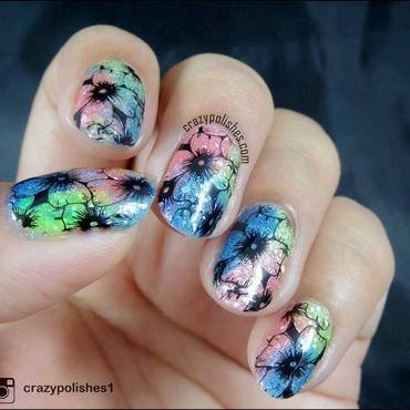 Glitter Flowers nail art by CrazyPolishes (Dimpal)