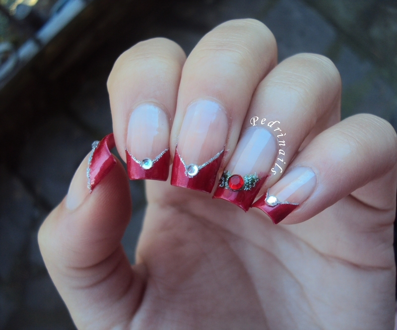 Red chevron french manicure for Christmas nail art by Pedrinails ...
