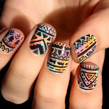 Midnight Tribal nail art by Margee C.