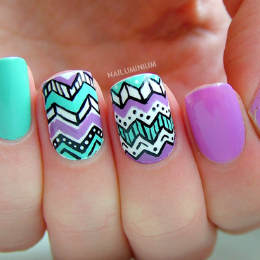 Tribal Chevron nail art by Margee C.