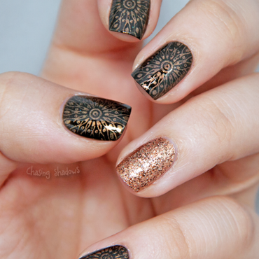Festive Khaki nail art by Chasing Shadows