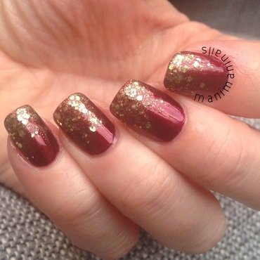 Red and gold glitter gradient nail art by manimaninails