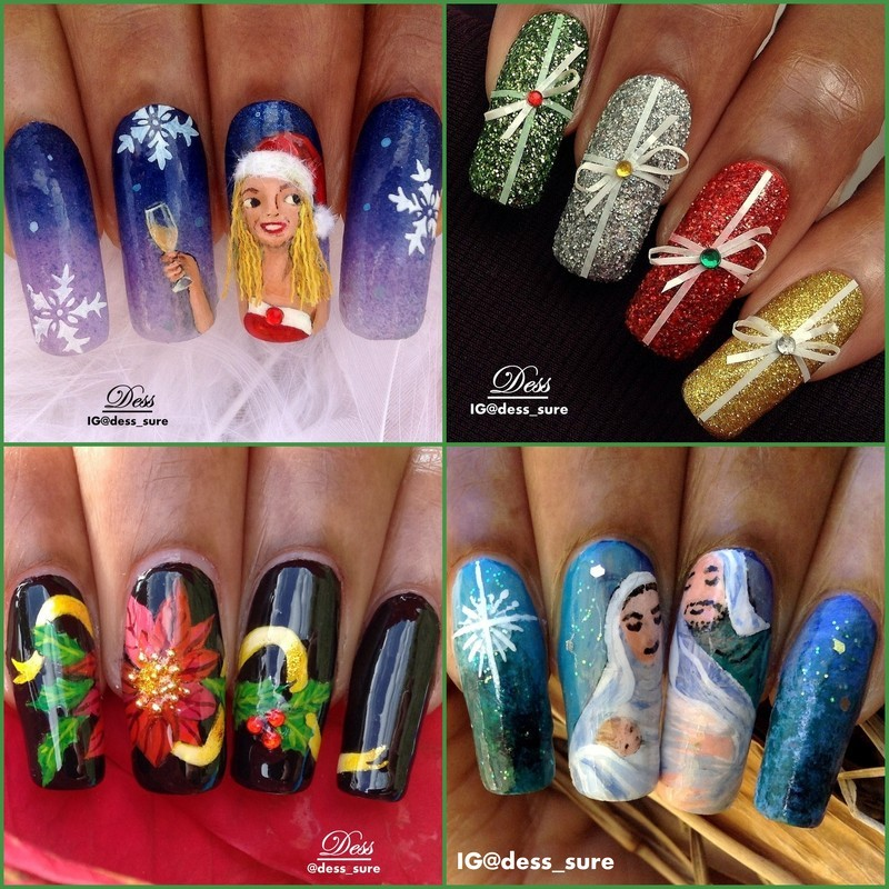 Christmas collage nail art by Dess_sure