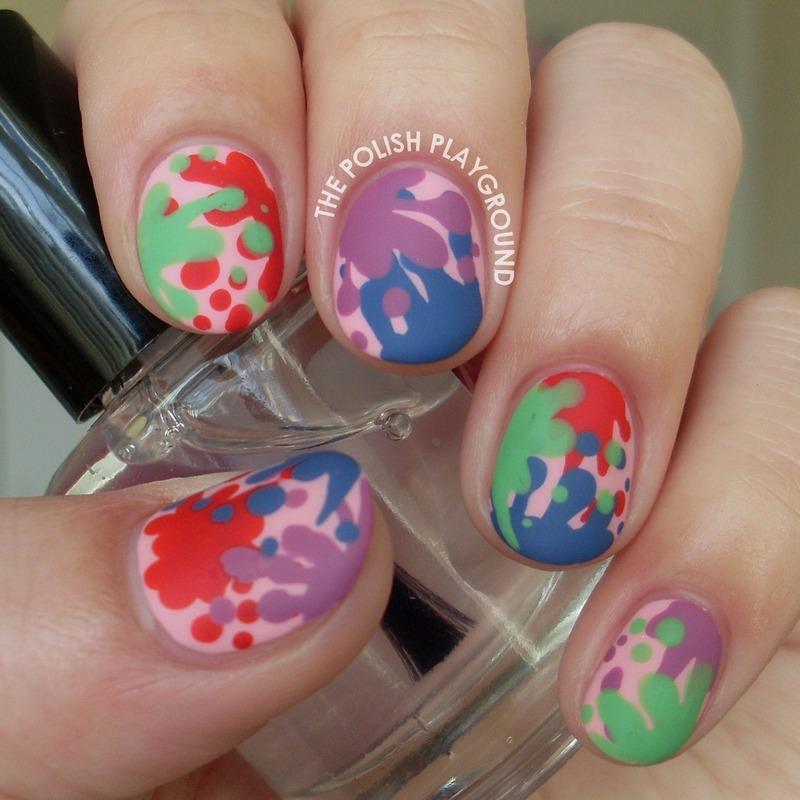 Food Fight Splatter Nail Art nail art by Lisa N