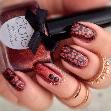 Molten Copper and Lacy Floral nail art by Debbie