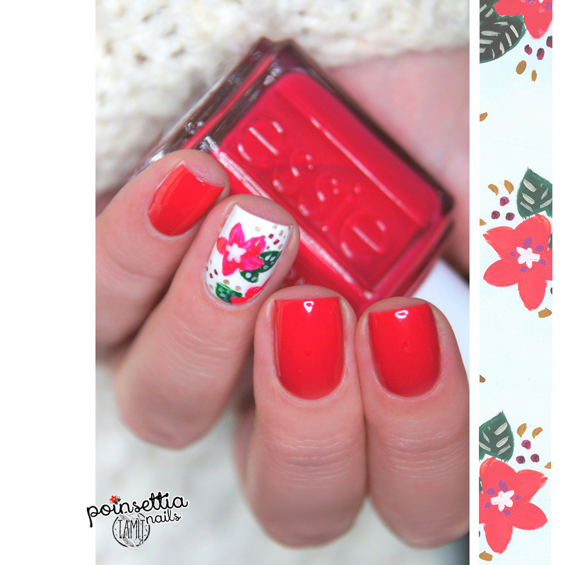 Christmas Poinsetti nailsa nail art by Paulina
