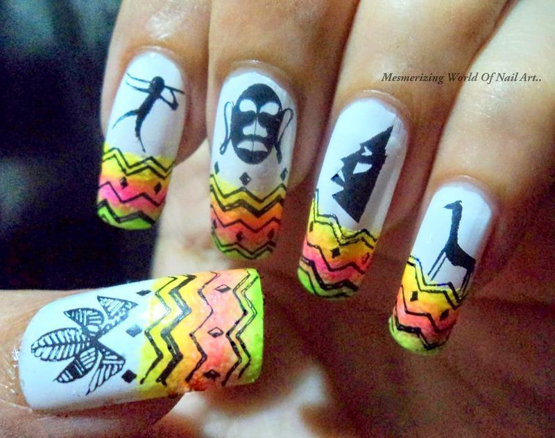 Tribal nail art nail art by Anubhooti Khanna