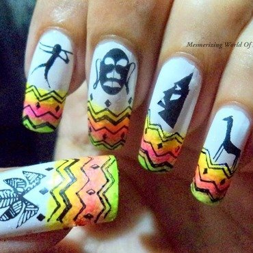 Tribal nail art nail art by Anubhooti Khanna