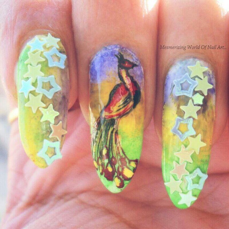 Peacock Nail Art nail art by Anubhooti Khanna