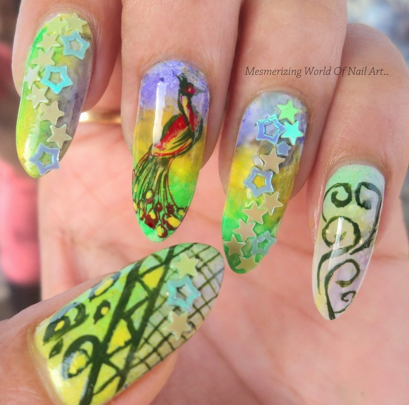 Gorgeous Peacock Stamping Nails nail art by Born Pretty