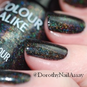Colour alike black saint swatch black holographic nail polish2 thumb370f
