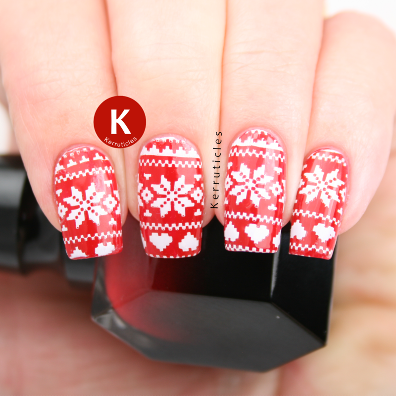 Red and white Christmas jumpers nail art by Claire Kerr