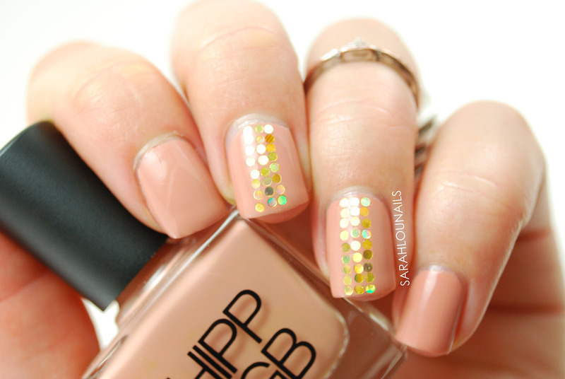 Gold Sequin Accent Nails! nail art by Sarah S