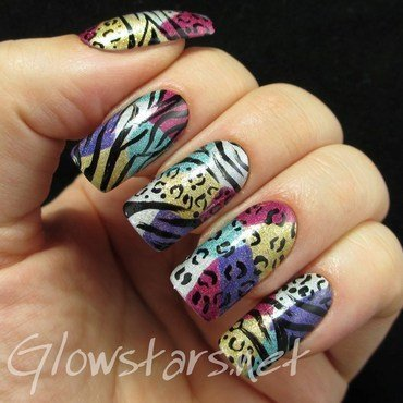 Leopard and zebra print on a holo patchwork nail art by Vic 'Glowstars' Pires